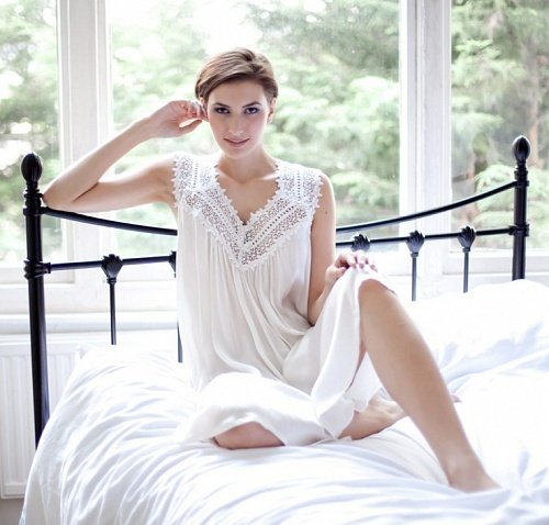 Ночная сорочка Cottonreal SALLY SILK IVORY белая